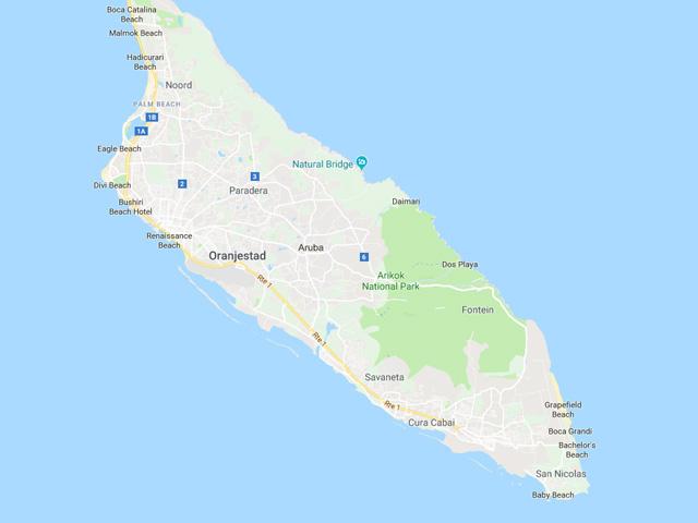 Landkaart Van Aruba Vakantielanden Net