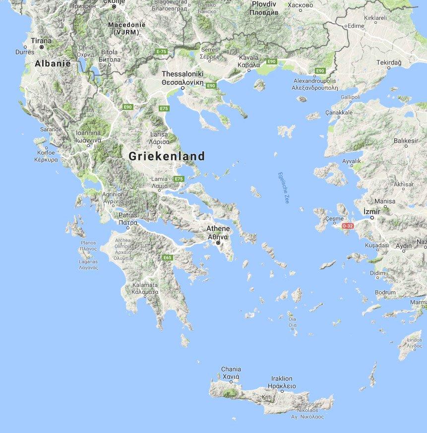 Landkaart Van Griekenland Vakantielanden Net