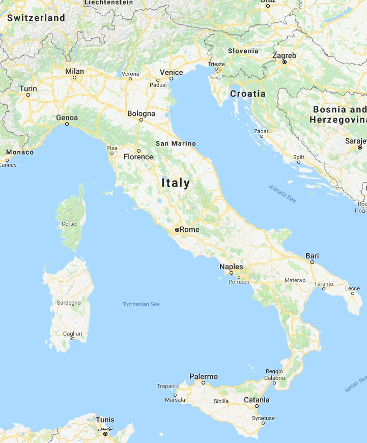 Italie Landkaart