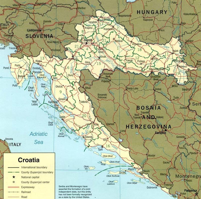 Landkaart Kroatie