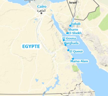 Egypte vakantie map